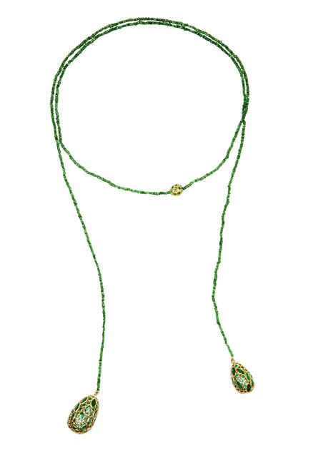 Pippa Small 18-karat gold, emerald and tourmaline lariat,$12,160,  available at Net-A-Porter .
