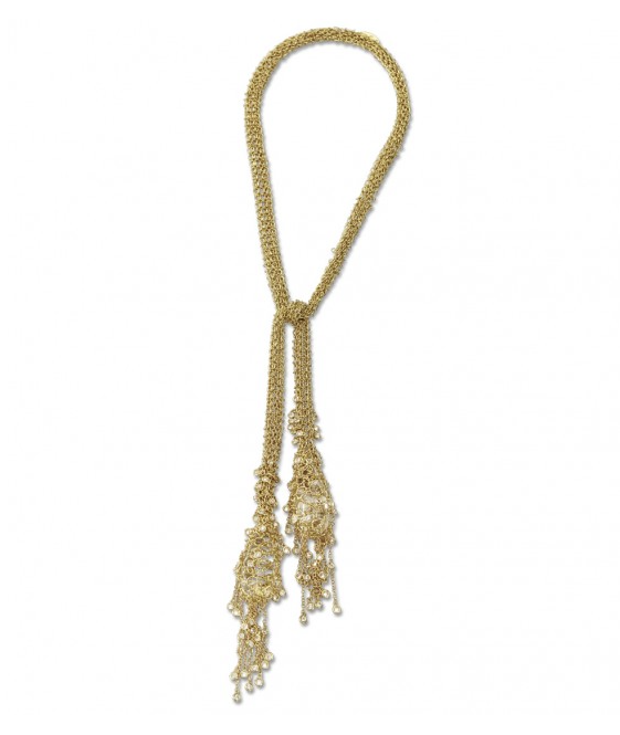 Wilfredo Rosado  double fringe lariat in 18-karat gold and diamonds, $89,000,  available at Just One Eye .
