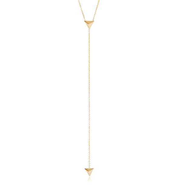 Zoe Chicco  14-karat gold Pyramid lariat, $352,  available at Stone & Strand .