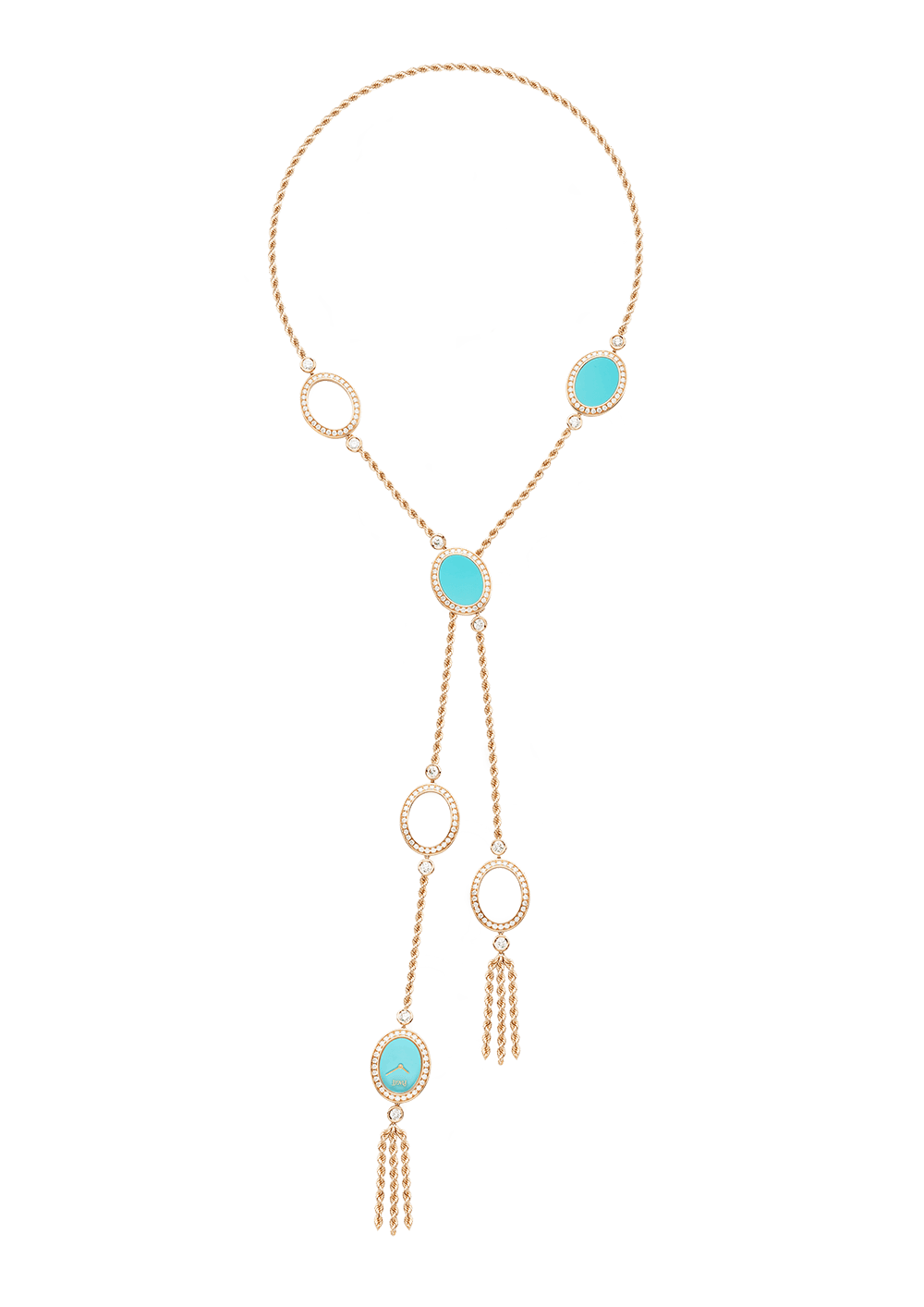 Piaget  watch lariat in 18-karat rose gold with turquoise and diamonds, price upon request,  available at Piaget .