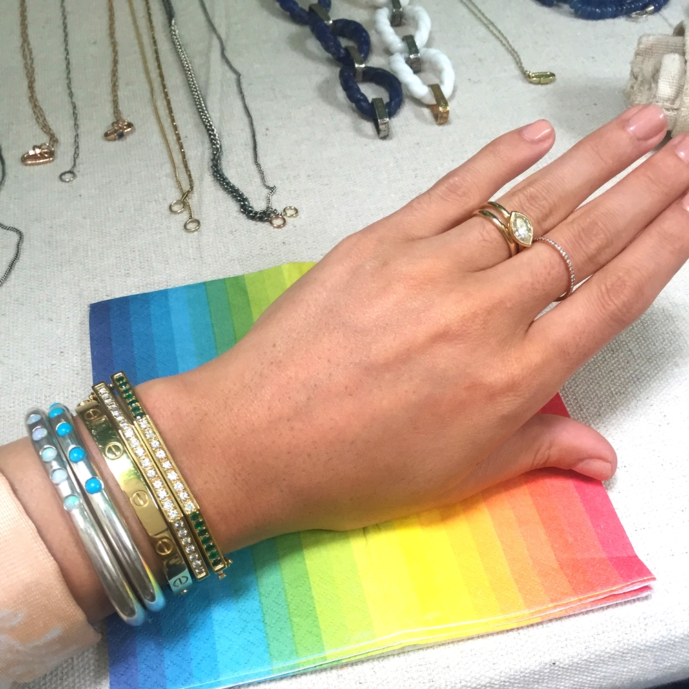 Committed to the turquoise and opal situation...and rainbow napkins. And rainbow everything.