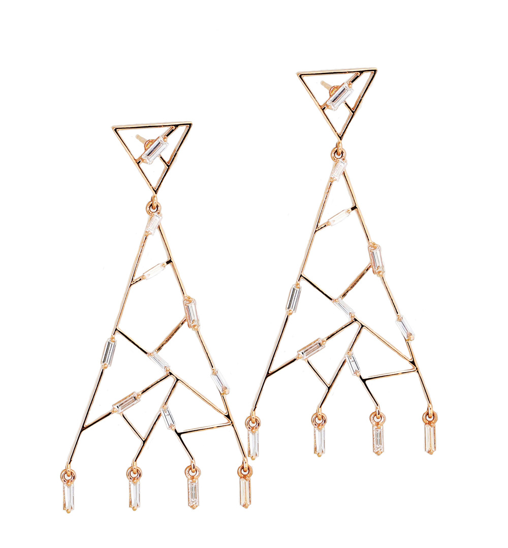 18k gold Baguette Post Chandelier earrings from the Fireworks collection, $6,160.