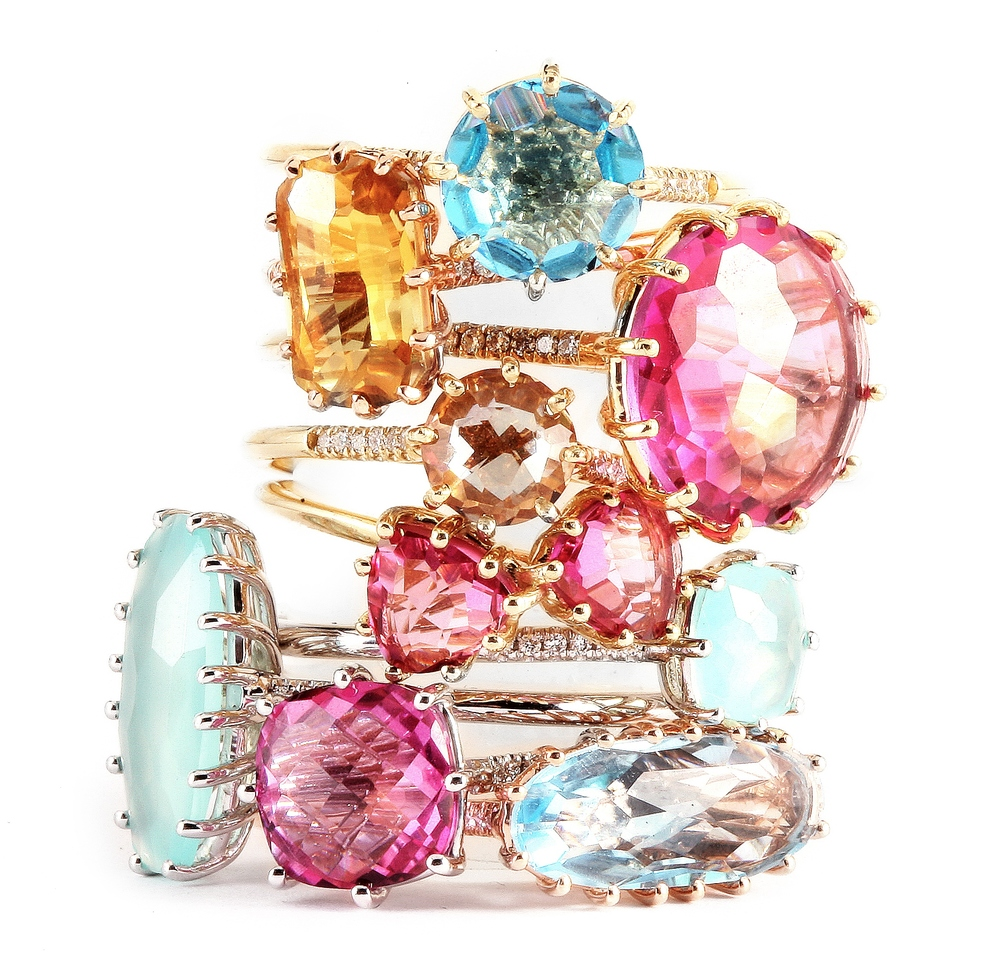 Stacked rings from the 14k line, KALAN By Suzanne Kalan.