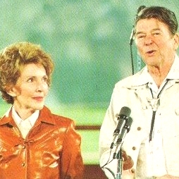 This photo of Ronald Reagan is cropped poorly, but we adore Nancy and couldn't cut her out.