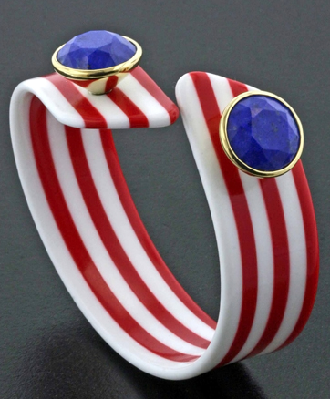 Bakelite, lapis, and gold bangle . Taffin by James de Givenchy
