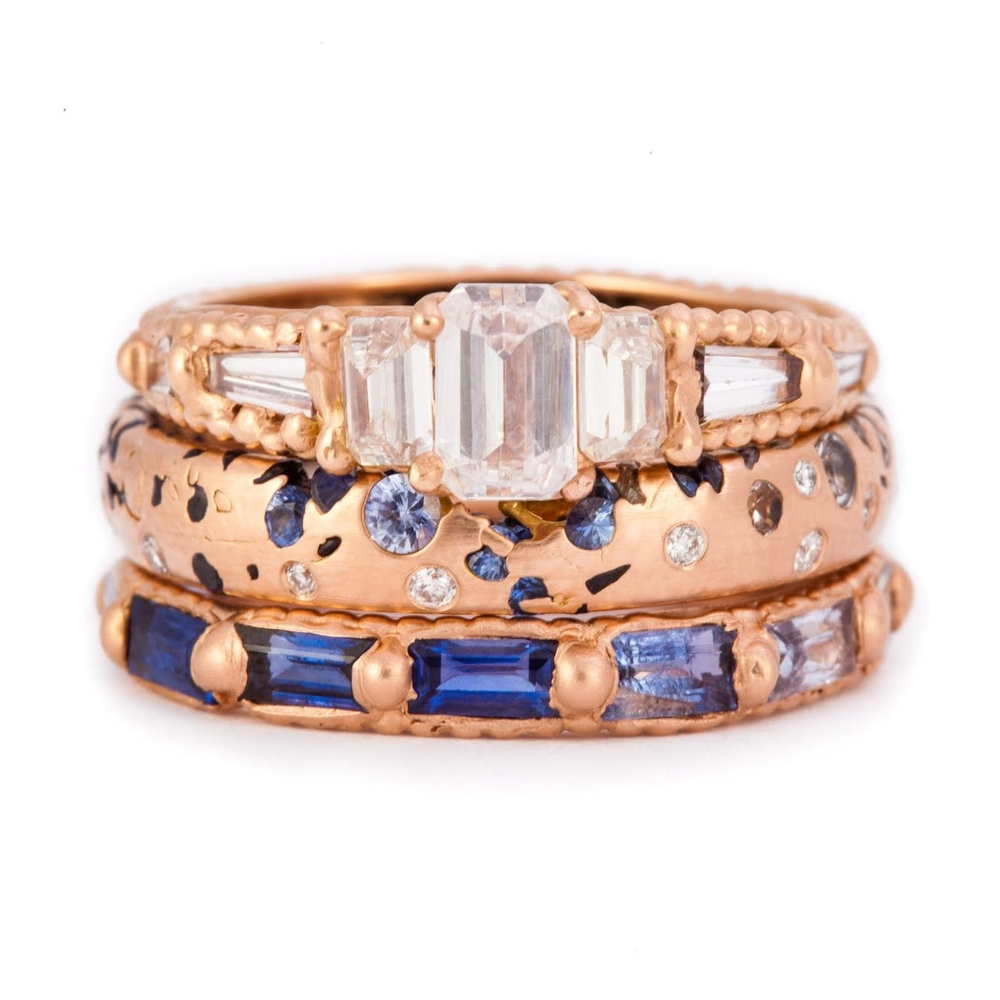 An example of one of Polly's favorite color combinations: rose gold and blue sapphires.