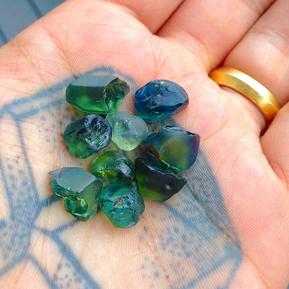 Handful of gorgeous sapphires, pre-Top Notch treatment.