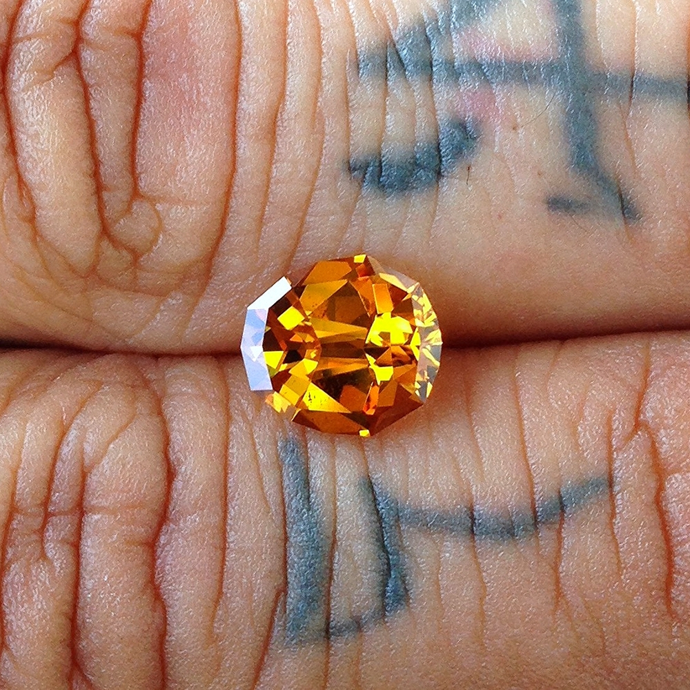 A golden sapphire, after a little love from Jean.