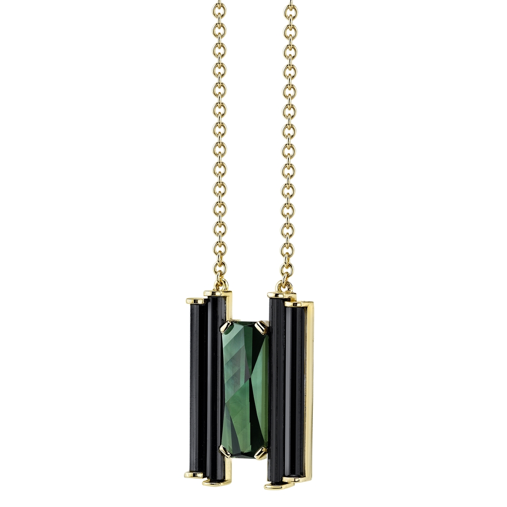 Pendant made by  friend Azalea Lee, of  Los Angeles, featuring a   4.23ct   Brazilian Top Notch tourmaline.      18K yellow gold,   accented with naturally formed black tourmaline crystals.