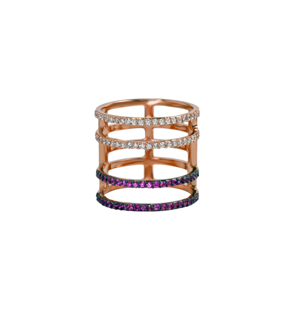 Khai Khai Rachel Bar ring in 18k rose gold, pink sapphires and diamonds, $2,200,  available at Stone & Strand .