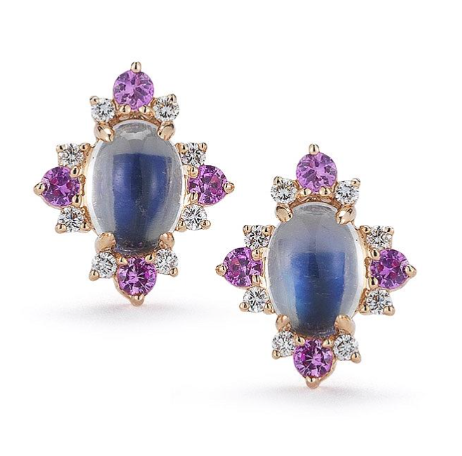 Emma Harper moonstone, pink sapphire and diamond earrings in 14-karat rose gold, $1,320,  available at Dana Rebecca .