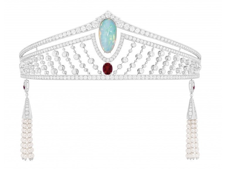 Chaumet  Tiara in platinum, diamonds, set with a twenty-one carat cabochon-cut white opal and a three carat Burmese pigeon's blood ruby.