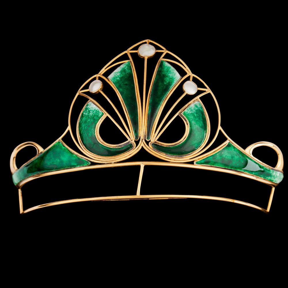 An Art Nouveau gold and green enamel tiara.