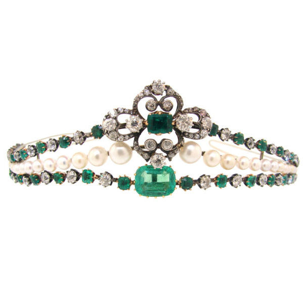 Victorian Diamond, Emerald, Pearl, Silver & Gold Tiara c.1910  available at 1stdibs.com .