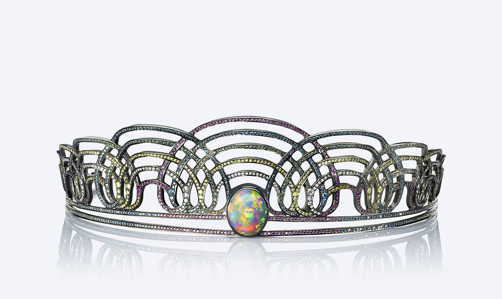 Another extraordinary opal tiara, this time by the London-based  Solange Azagury-Partridge  and featuring rainbow gemstone pave.