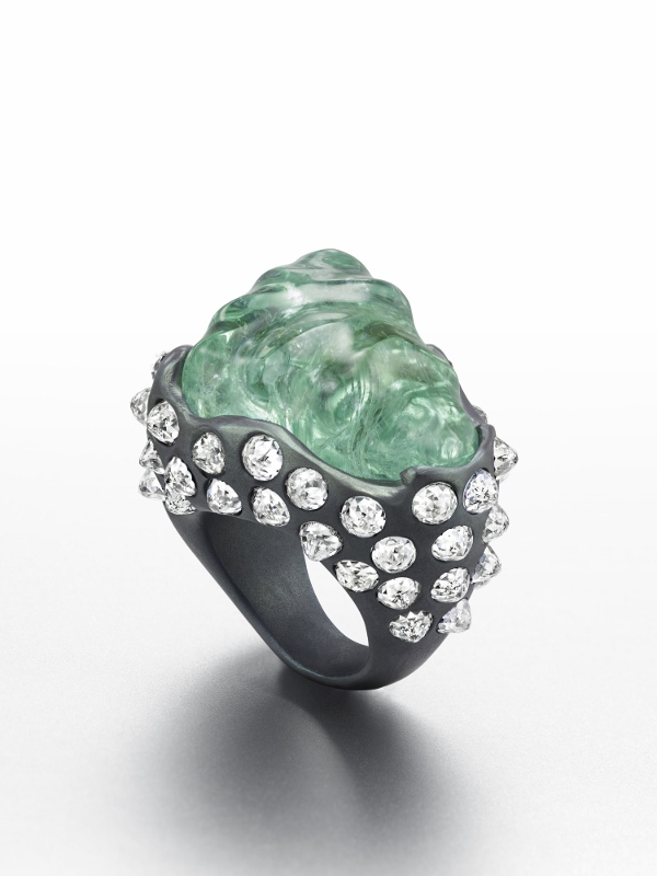 """Ali Baba's Trove"" ring in titanium with a 54.93 carat Paraiba tourmaline and diamonds."
