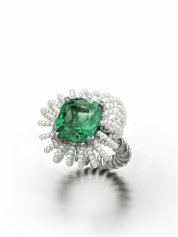 """Picture Perfect"" ring in white gold and titanium with a 10.37 carat Colombian emerald, diamonds and pearls."