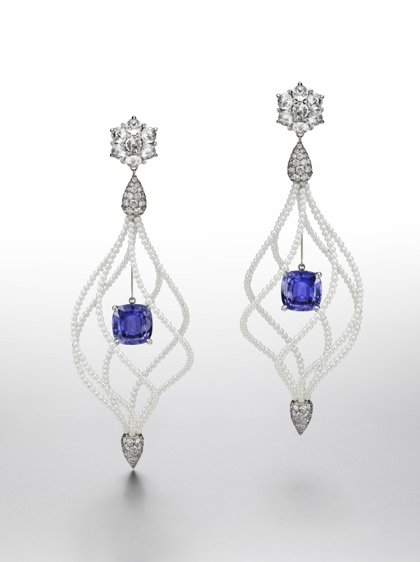 """Lady Hamilton"" earrings in white gold and titanium with 8.08 carats of Ceylan sapphires, diamonds and pearls."