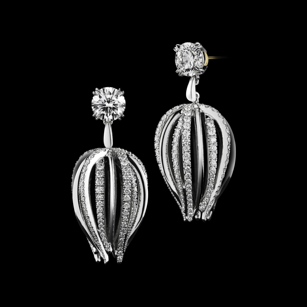 Alexandra Mor_Curved Dangling Diamond Earrings_Black BG_Front and Side View (PREVIEW - The New Classics Collection).jpg