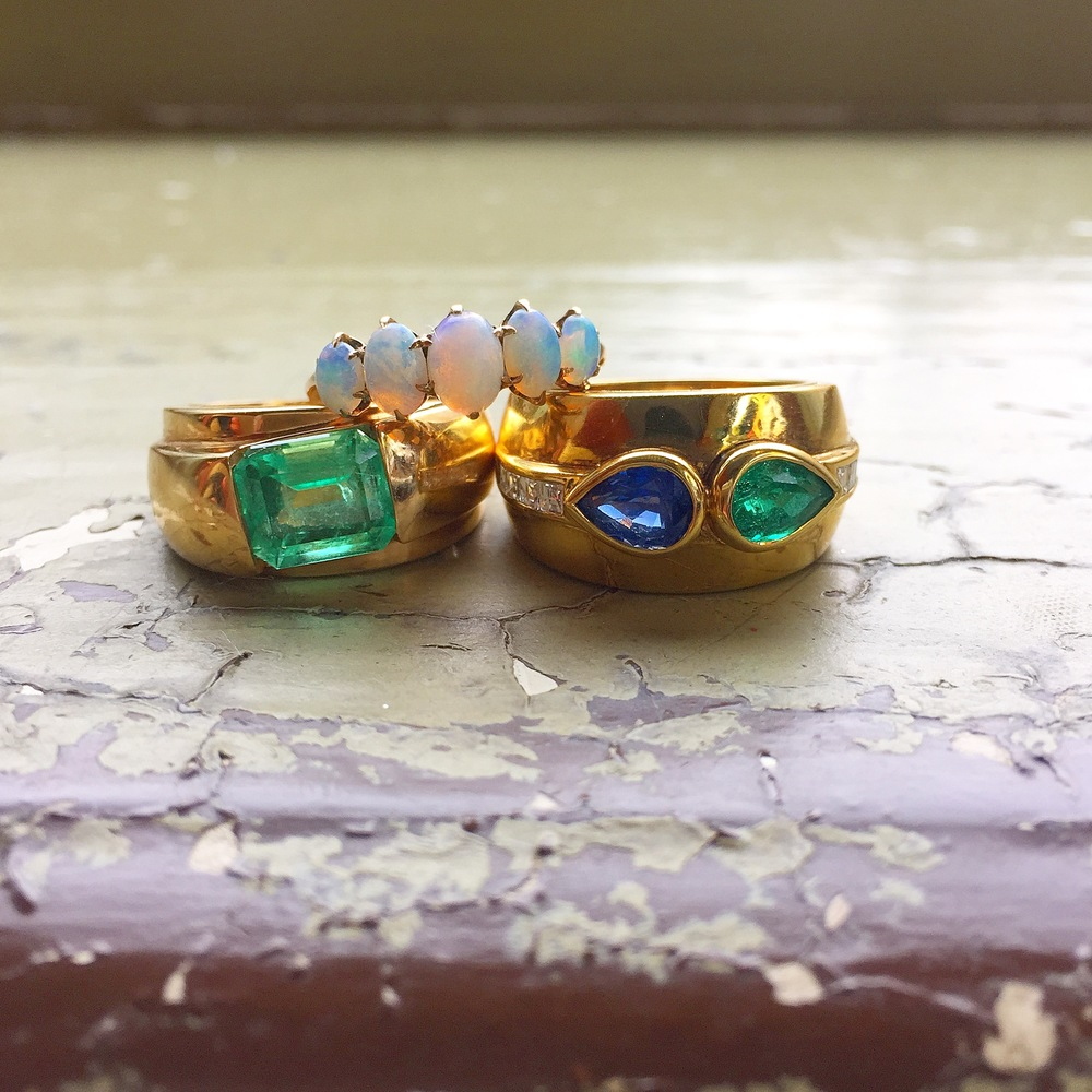 Opal 5 stone ring and sapphire/emerald/diamond cigar band compliment our new Columbian emerald from Excalibur at the Vegas Antique Show perfectly.