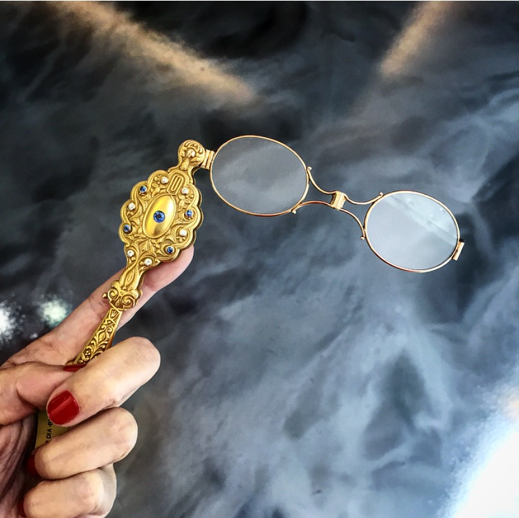 A turn-of-the-century lorgnette with Montana sapphires. We have no need for this but we sure do want it.