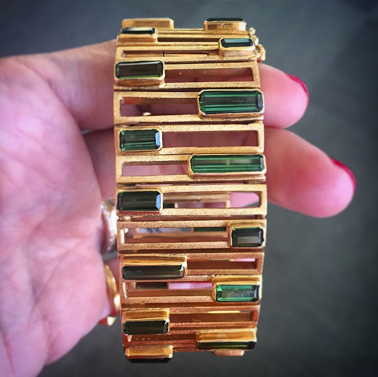 Yes, we are having a green tourmaline moment. This extremely heavy bracelet by Brazilian jeweler  Haroldo Burkle-Max  is retro heaven.