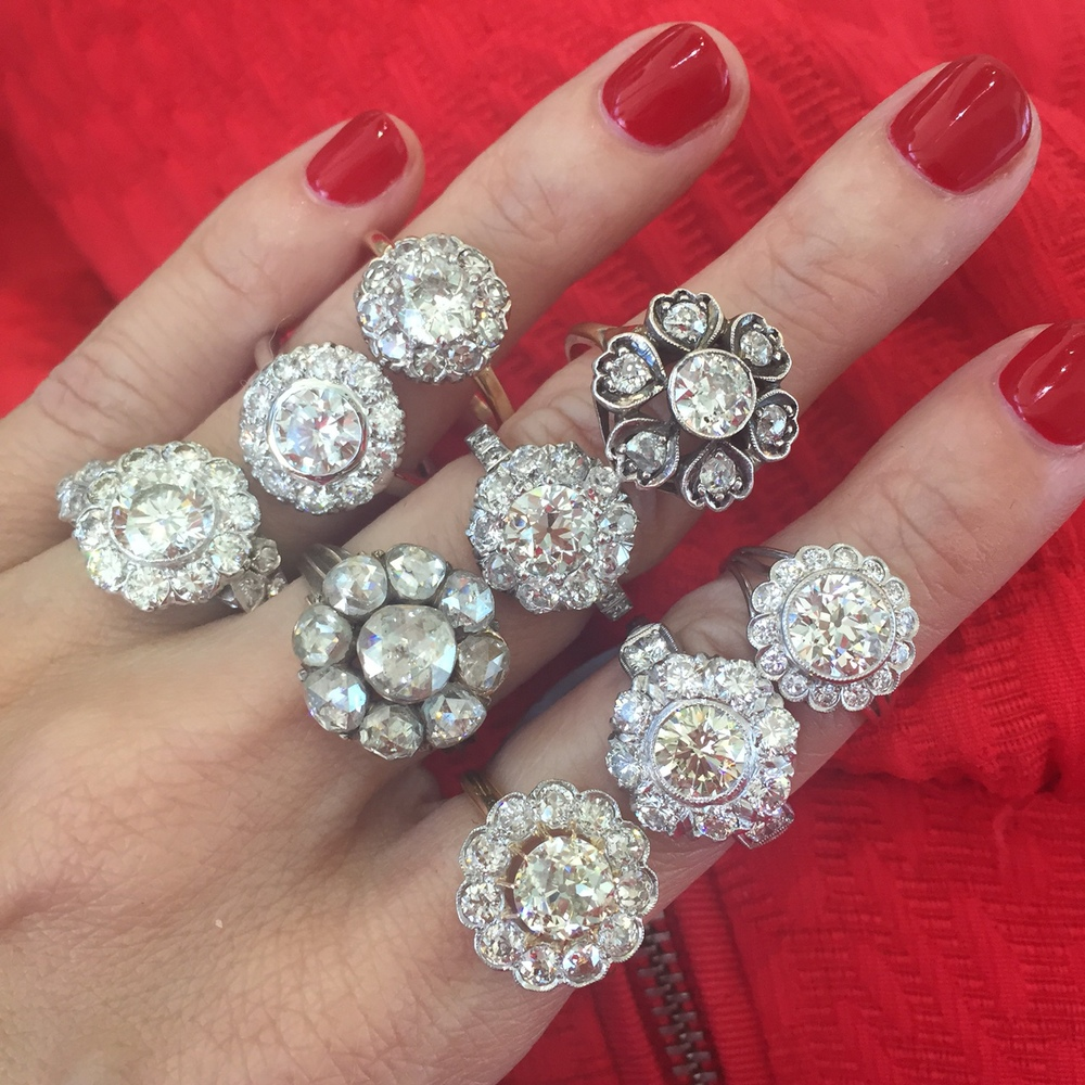 A small selection of the vintage cluster rings on hand at Excalibur.