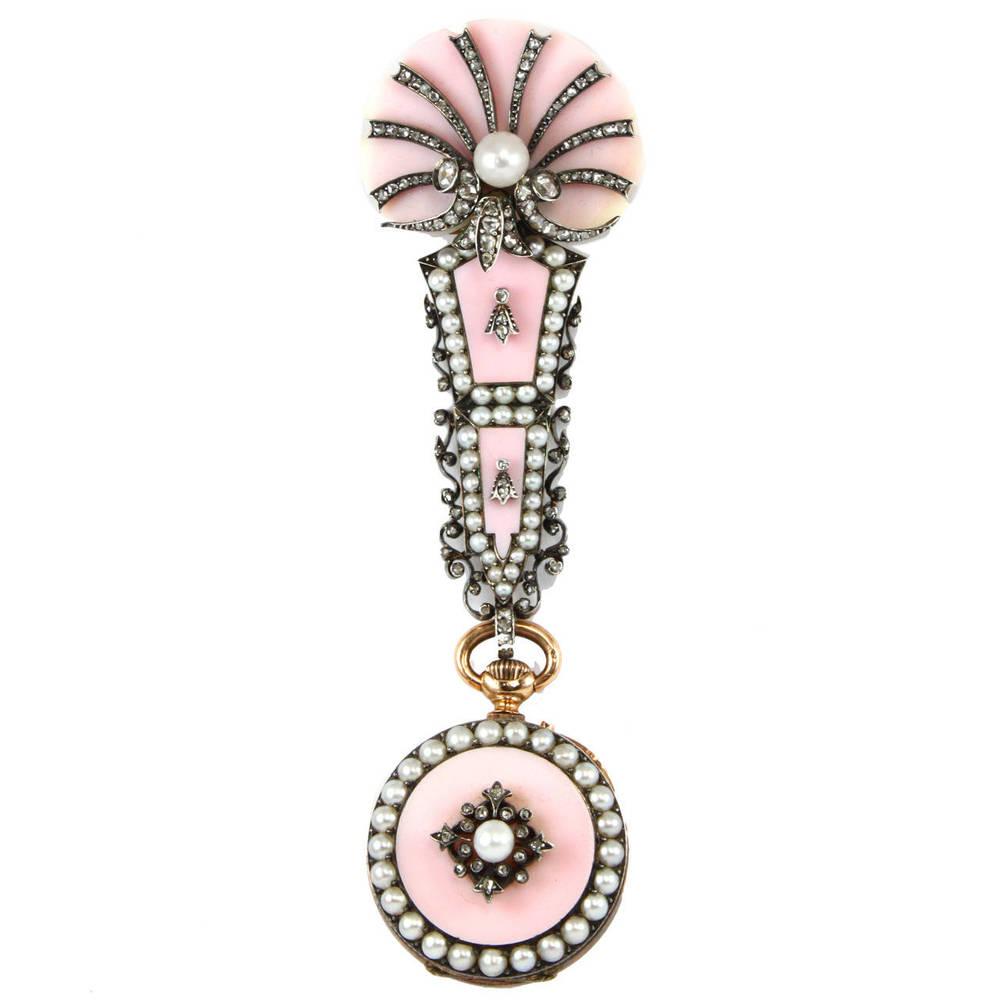 Pink watch brooch FFR