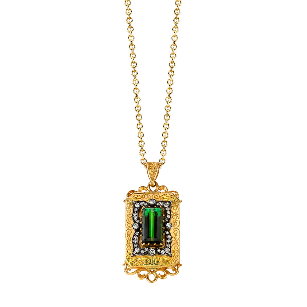22K and silver locket with green tourmaline and diamonds, $16,500.
