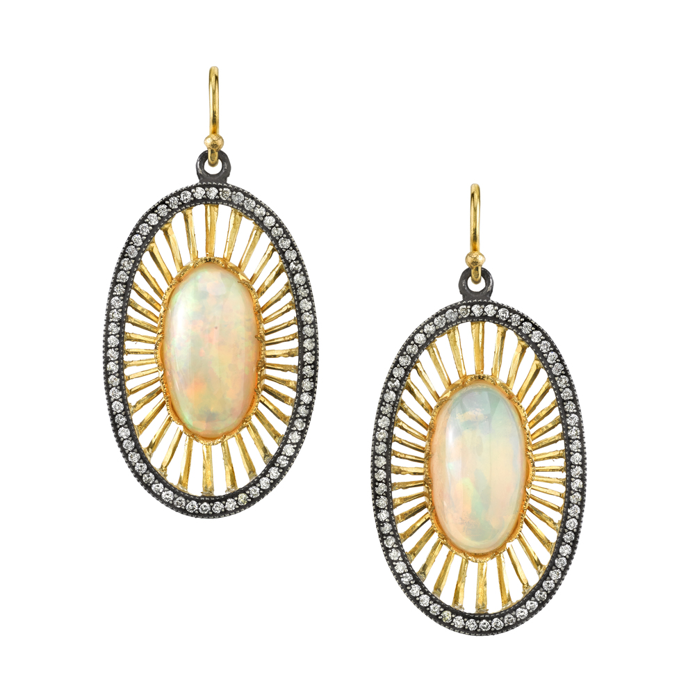 22K gold and silver Ethiopian opal oval Deco earrings, $18,820.