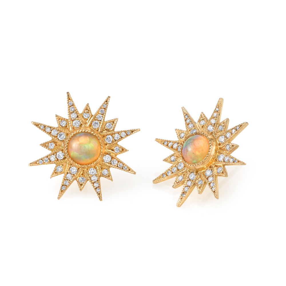 Starburst earrings with opal centers, $6,820.