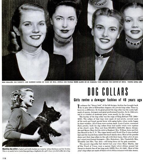 WWII era women wearing ribbon chokers and the newspaper likening them to dog collars.