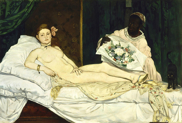 Edouard Manet's '1865 'Olympia' depicts a prostitute in a black ribbon choker. The choice of necklace and the orchid in her hair was indicative of working girls in Paris during the 1800's.