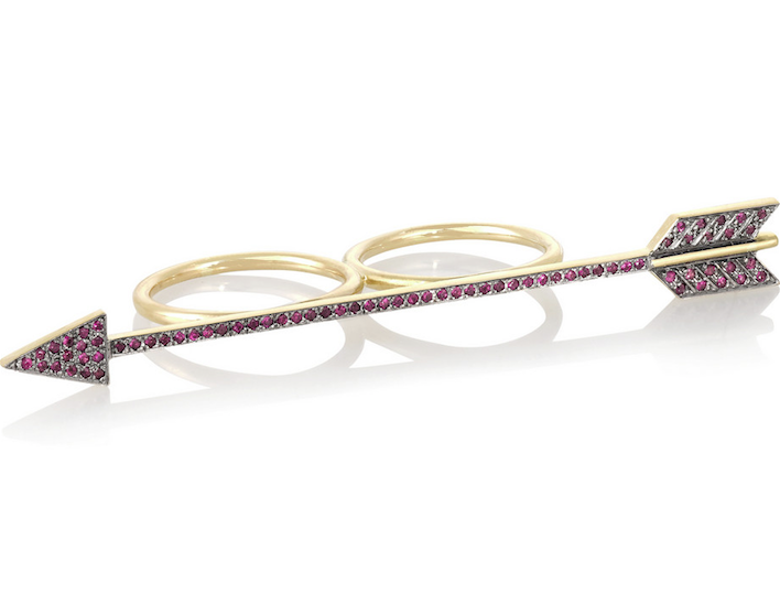 Elena Votsi  Eros18-karat gold ruby two-finger ring, $4,845,  available at Net-A-Porter .