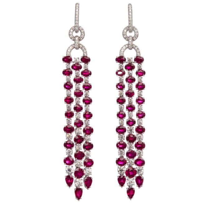 Sidney Garber  ruby and diamond drop earrings, price upon request, available at  Sidney Garber .