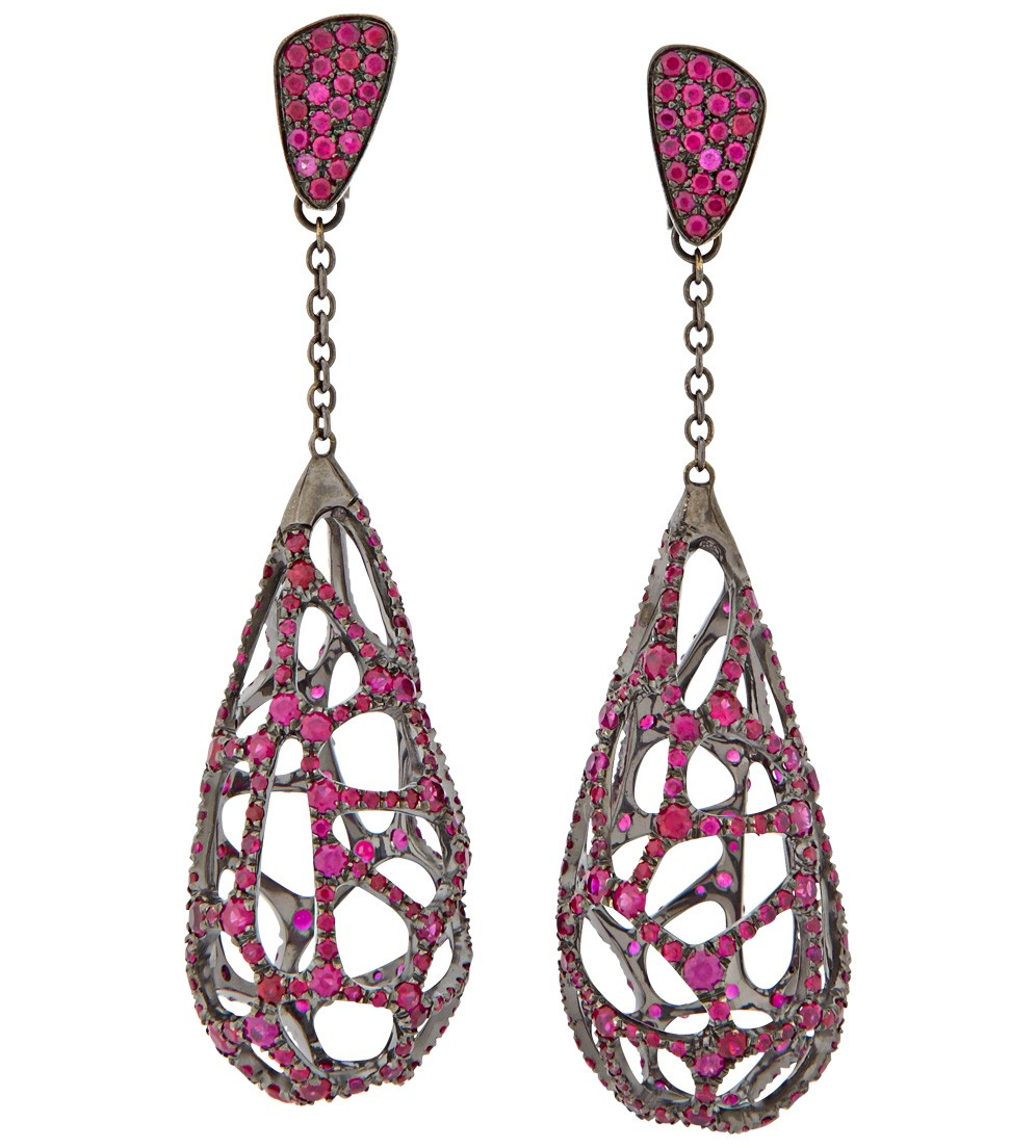 Wilfredo Rosado  black rhodium and ruby earrings, $31,200,  available at Just One Eye .