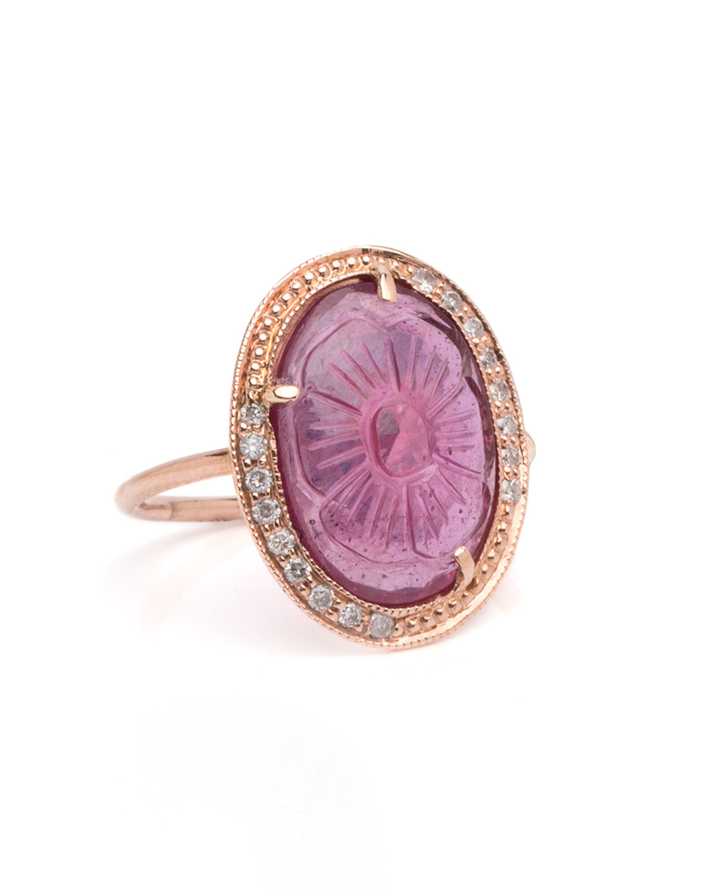 Jacquie Aiche  14K carved ruby and diamond ring, $2,750,  available at Stanley Korshak .