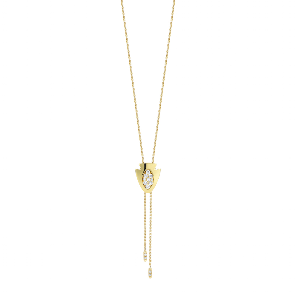 18k Yellow Gold & Pave Diamond Arrowhead Bolo Tie, $1,995, available at  Finn Jewelry .