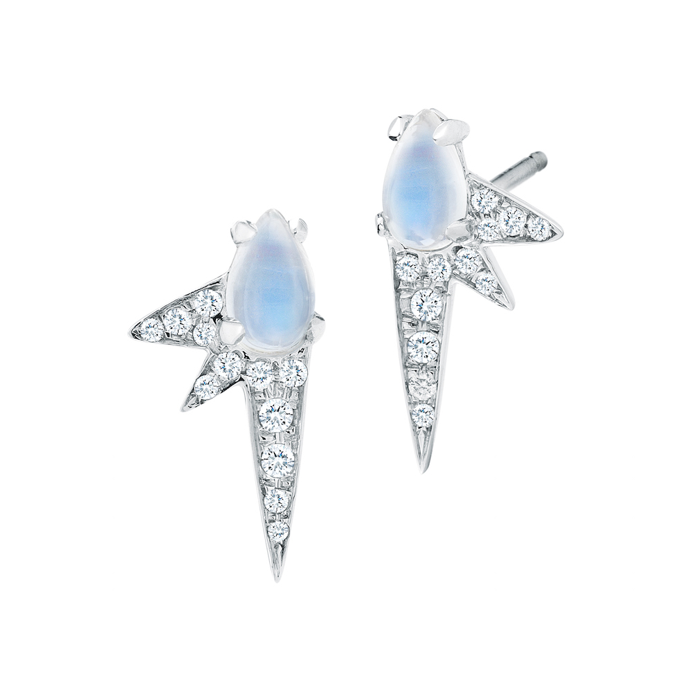 18k White Gold, Pave Diamond & Moonstone Spike Studs, $1,750,  available at Finn Jewelry .