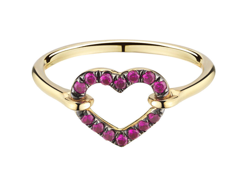 Ruby Open Heart Ring, $1300,  available at Finn Jewelry .