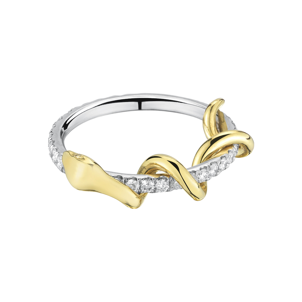 18k Yellow Gold & 18k White Gold Pave White Diamond Snake Ring, $3,700,  available at Finn Jewelry .