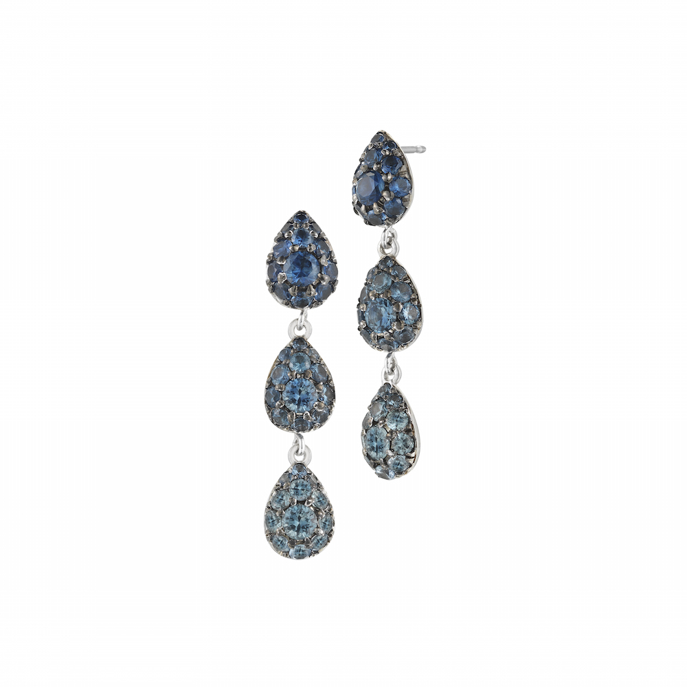 18k White Gold & Blue Sapphire Raindrop Earrings, $4,200,  available at Finn Jewelry .