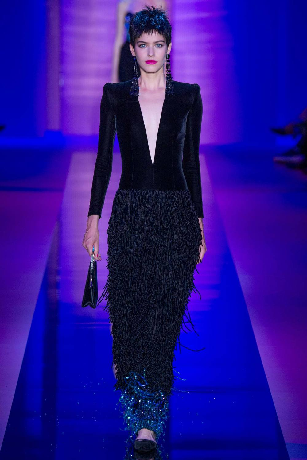 Deep Vs, fringy beaded skirts and flats.  Armani Privé we love you.