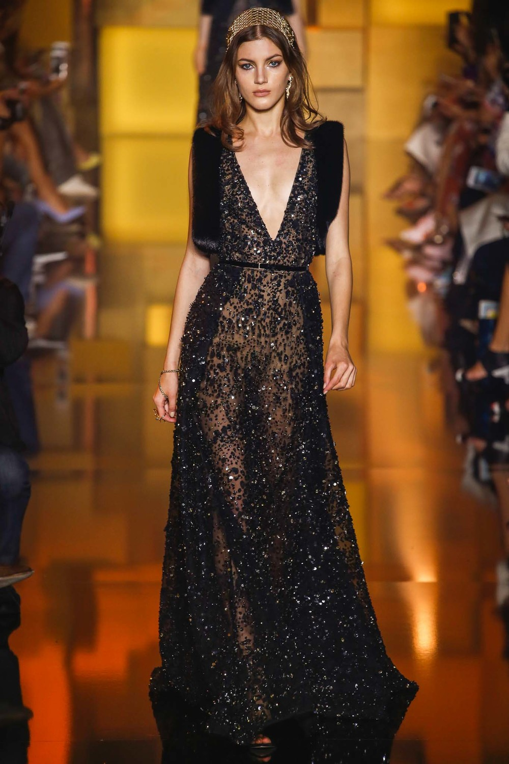 Tiaras for days. And hand pieces. And beads.  Elie Saab .