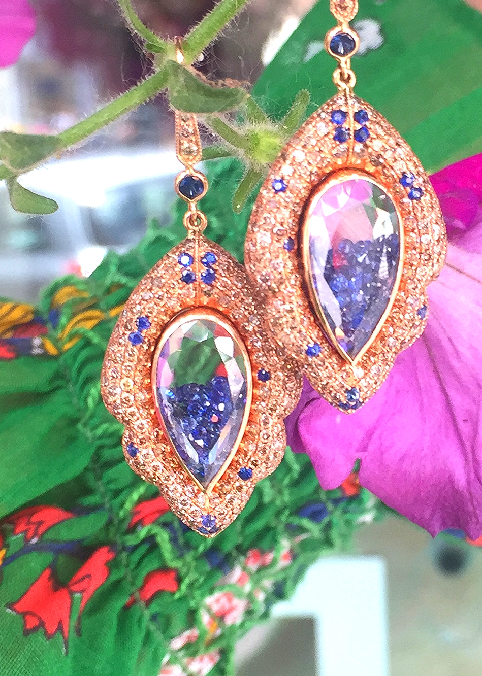 Moritz Glik Rose gold, sapphire, and diamond shaker earrings.
