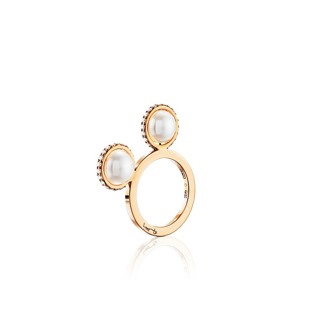 Double Day Pearl & Stars ring in 18k gold, $2,710,  available at Efva Attling .