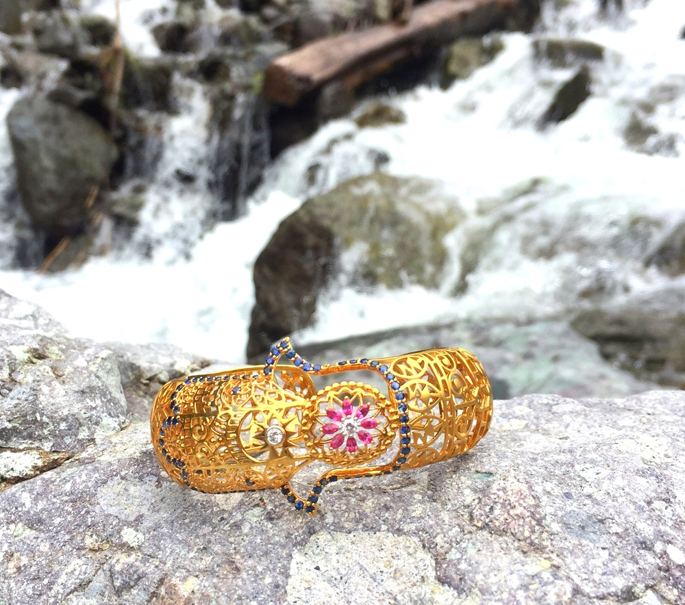 Buddha Mama hamsa gold bangle.