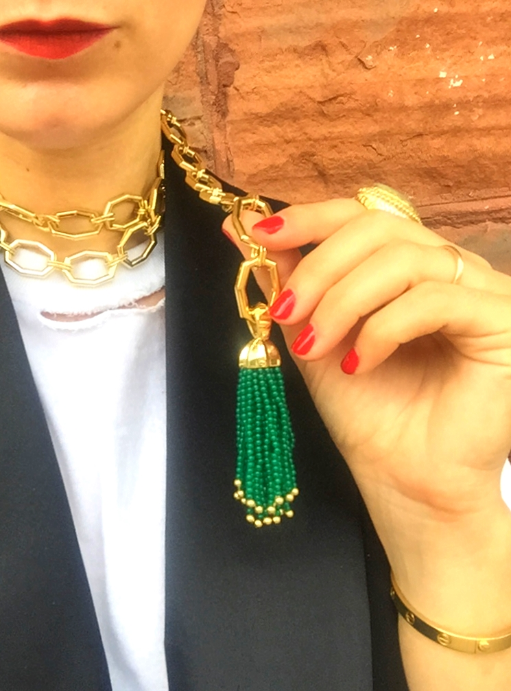 This exquisite sautoir by Octium is made in MIlan of 18K yellow gold and green onyx beads. Available atNeiman Marcus this fall. Available on our necks all summer.