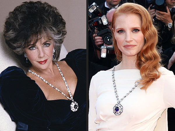 The ultimate then and now – Elizabeth Taylor and Jessica Chastain in Bulgari. Big hair don't care, love you La Liz.