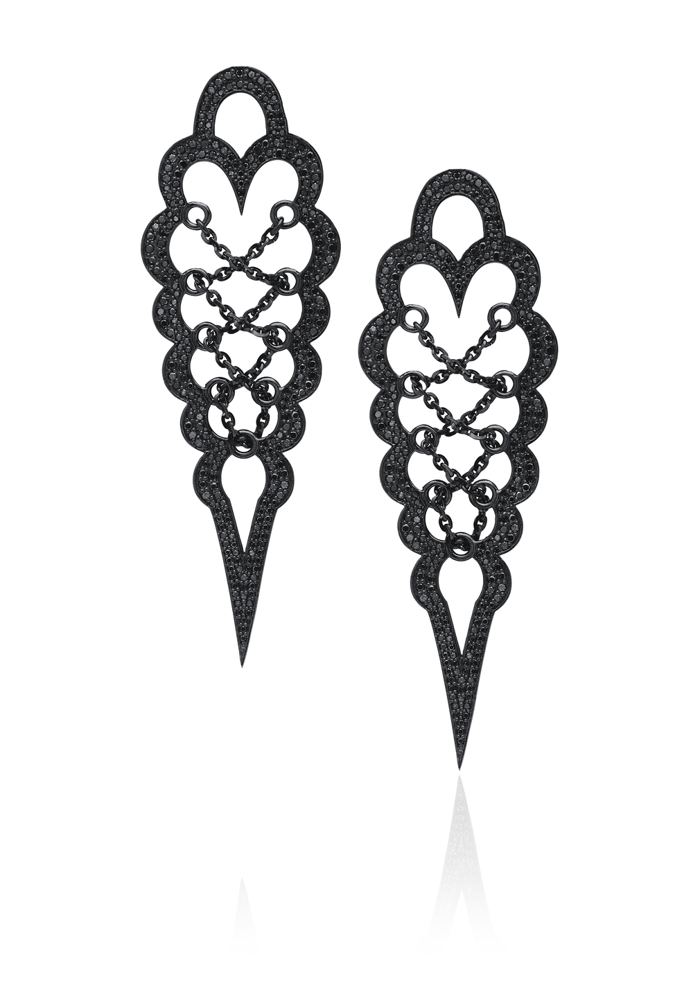 "Brand new black diamond corset earrings from the ""Entwined with You"" collection."